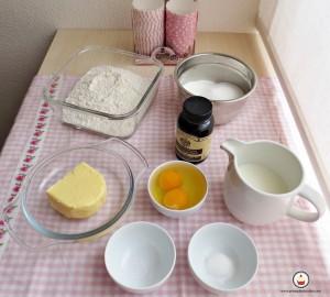 Ingredientes cupcakes de vainilla. Aroma de chocolate