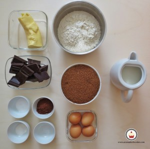 Ingredientes. Pastel de chocolate. Aroma de chocolate