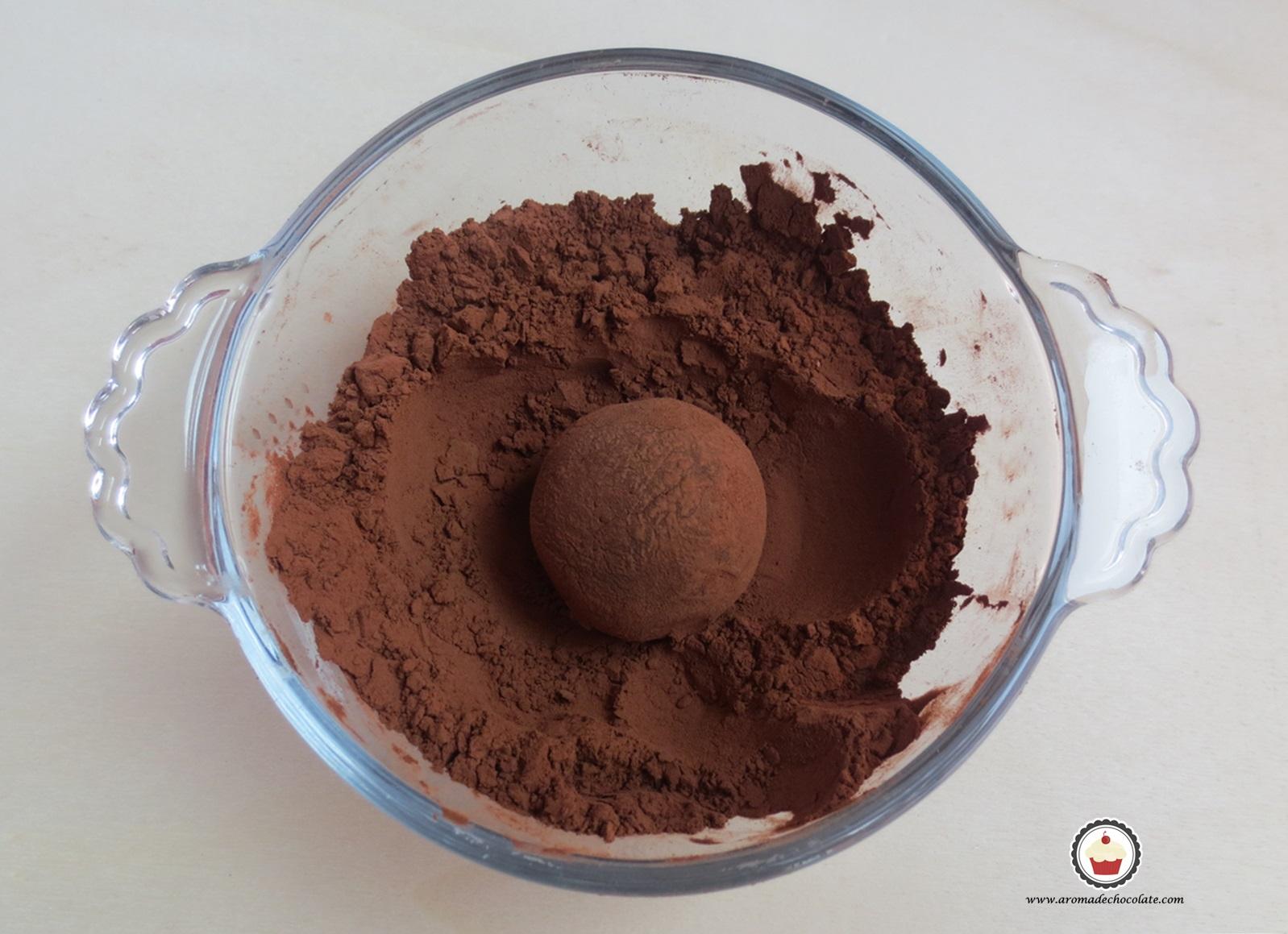 Capa de cacao. Trufas de chocolate y menta. Aroma de chocolate