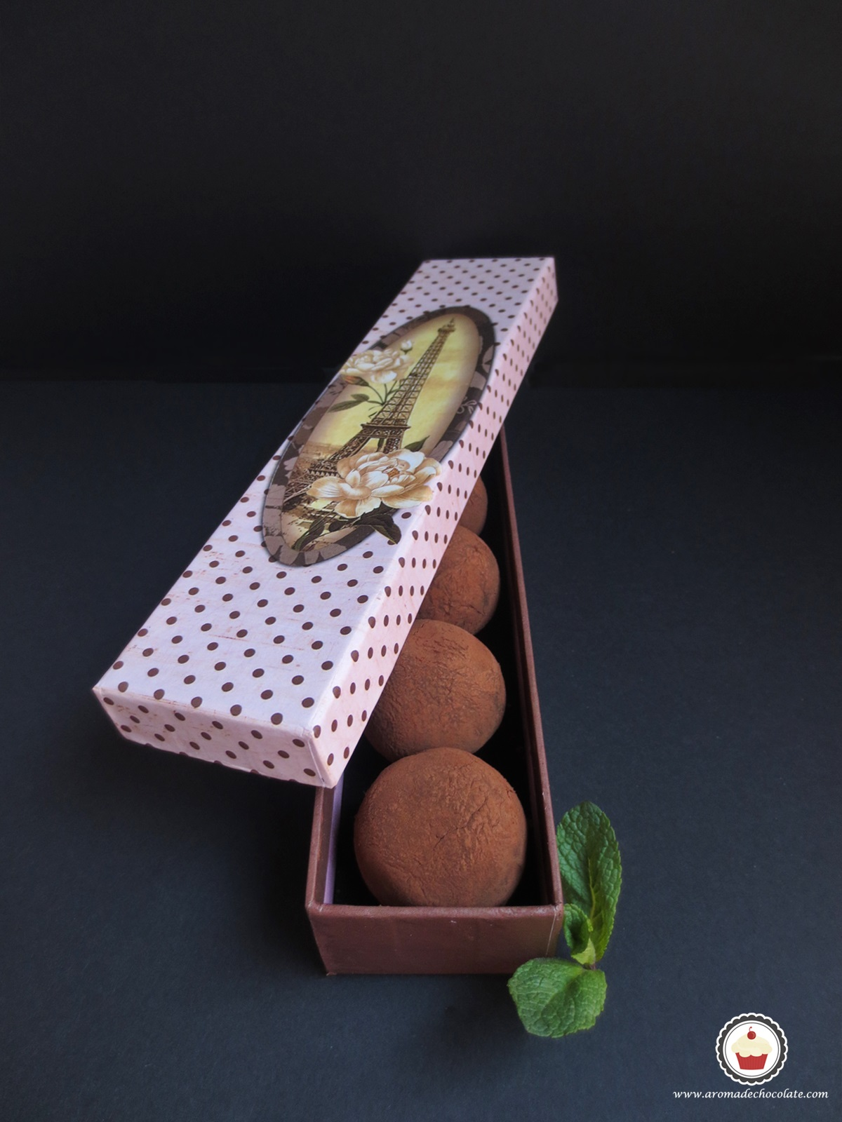 Trufas de chocolate y menta. Aroma de chocolate