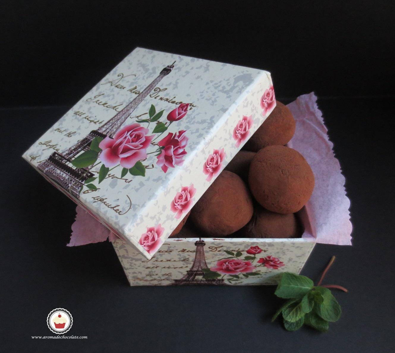Trufras de chocolate y menta . Aroma de chocolate
