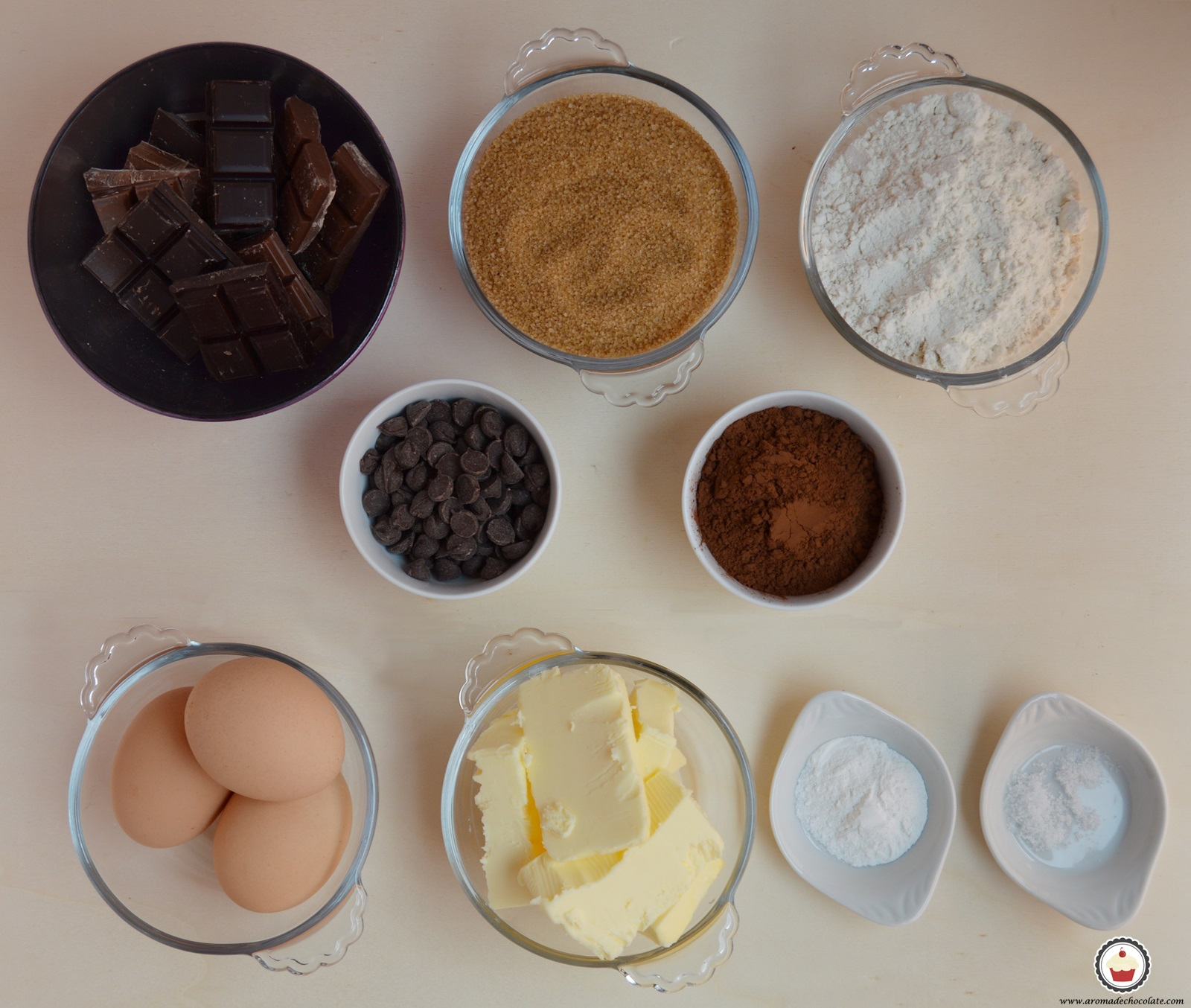 Ingredientes brownie. Aroma de chocolate