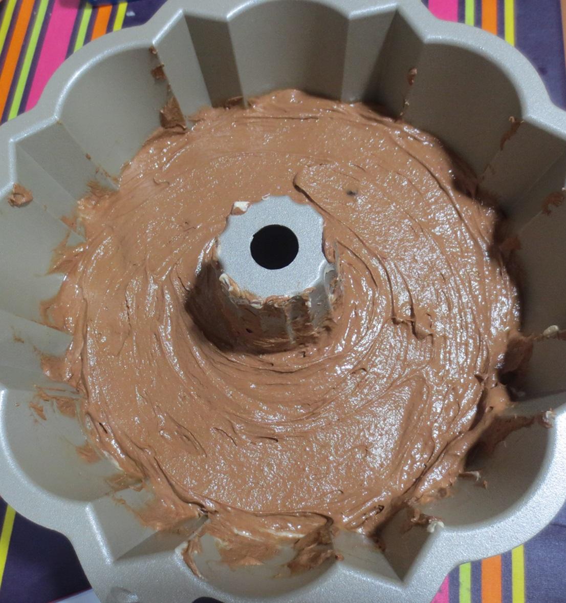2ª masa en el molde. Aroma de chocolate