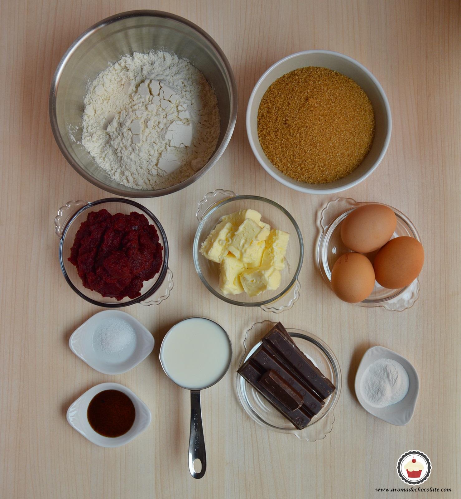 Ingredientes Beet Chocolate Naked cake. Aroma de chocolate