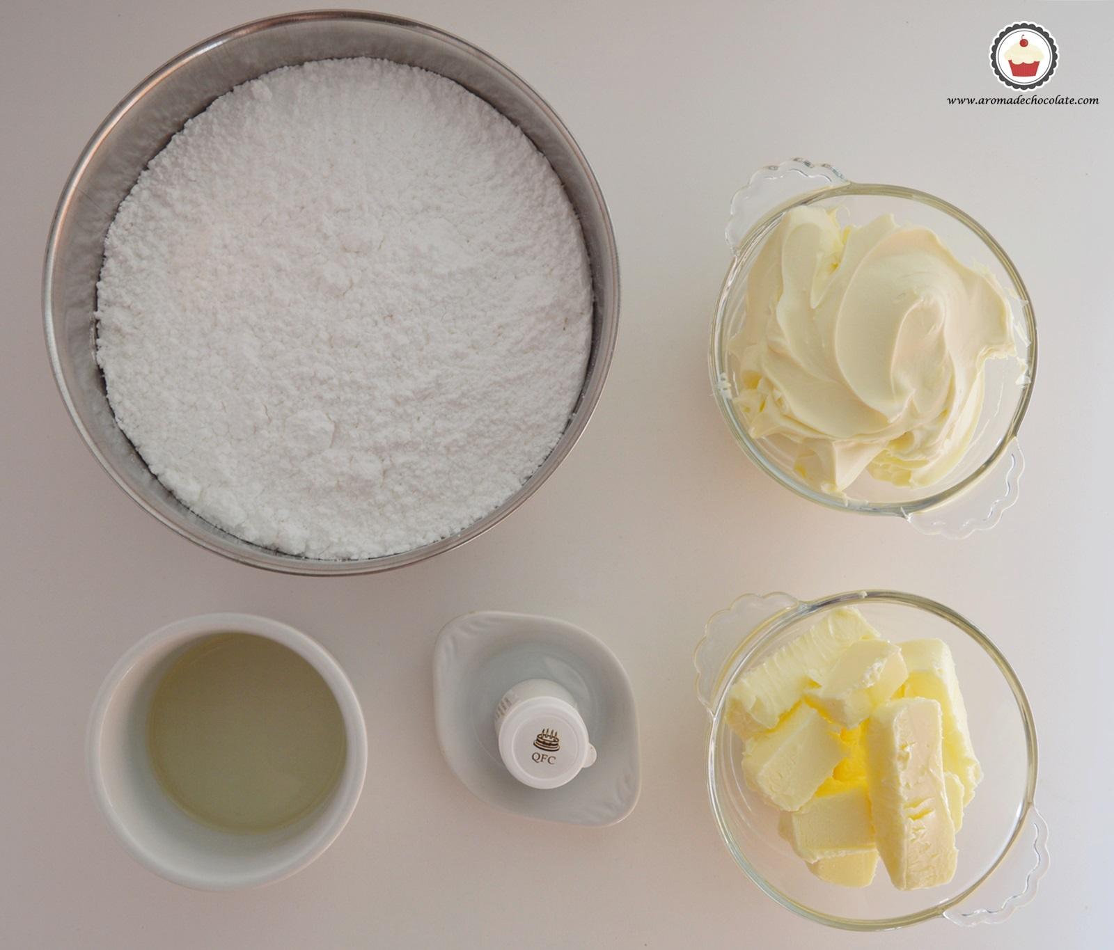 Ingredientes buttercream de queso al cava. Aroma de chocolate