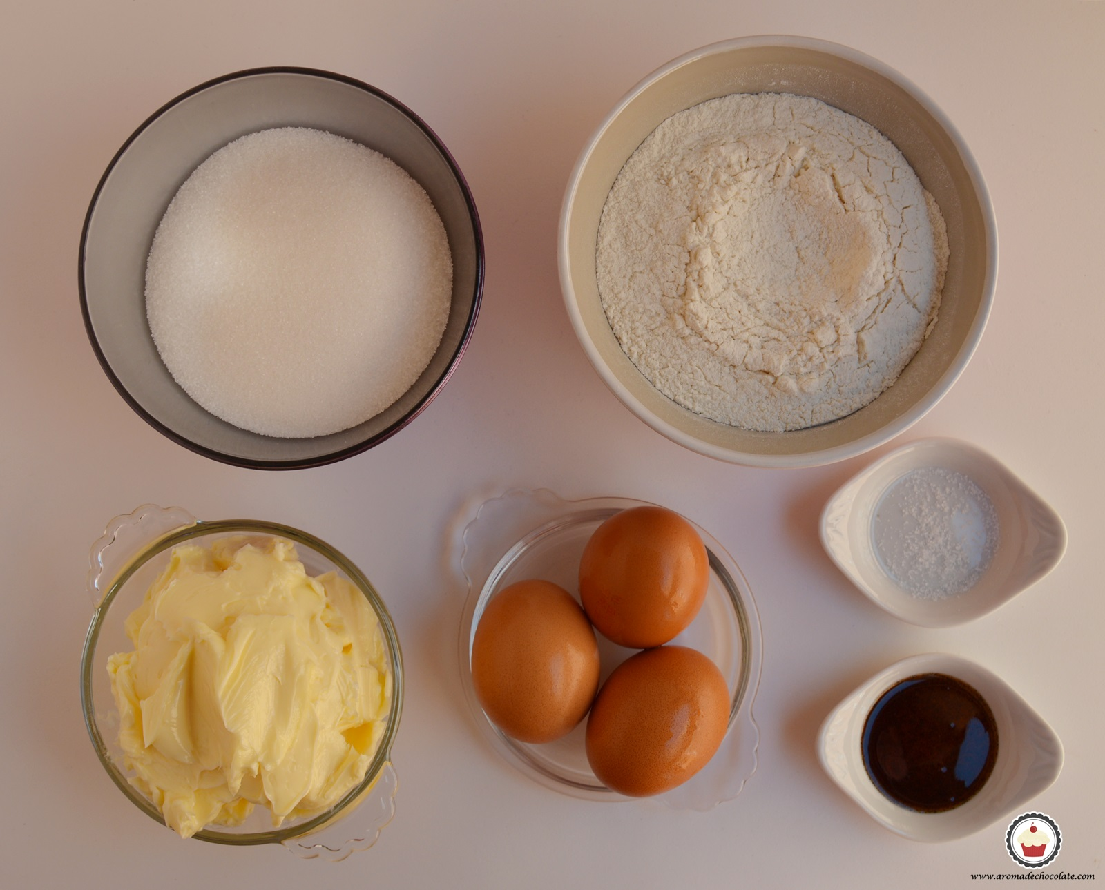 Ingredientes cupcakes de cerezas al cava. Aroma de chocolate