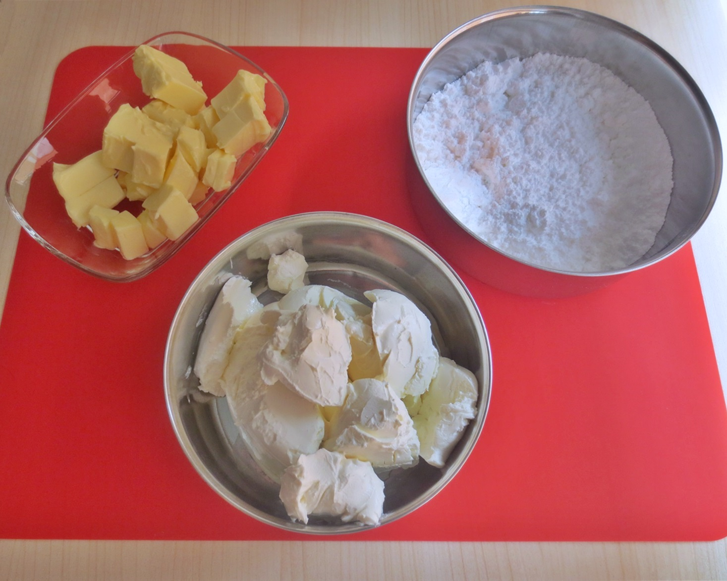 Ingredientes buttercream de queso. Aroma de chocolate
