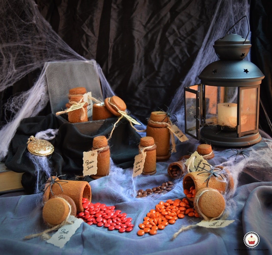 Halloween cookies. Magic potions. Aroma de chocolate