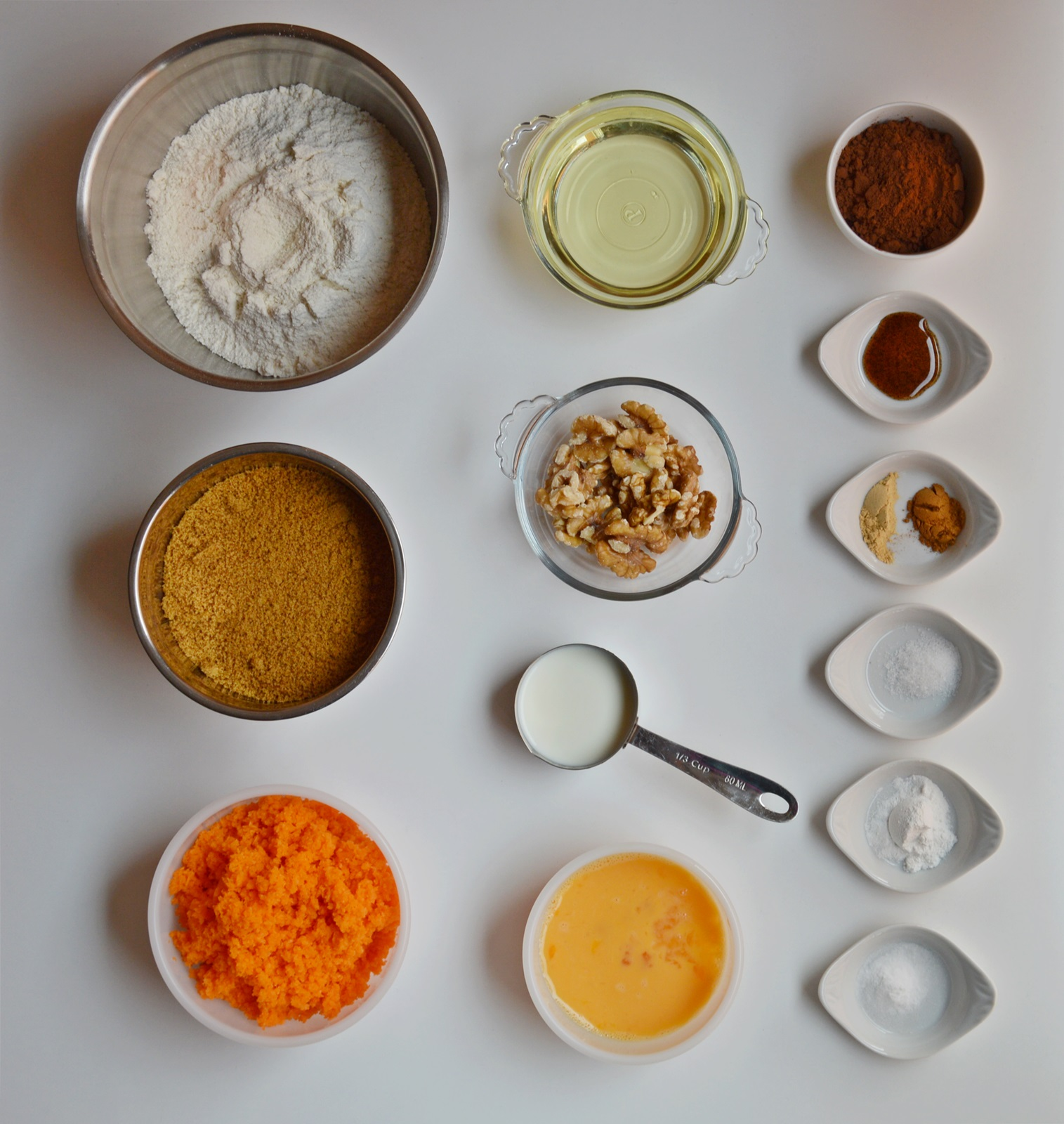 Ingredientes carrot cake chocolateado. Aroma de chocolate