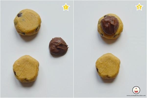 Como formar las cookies de Nutella. Aroma de chocolate