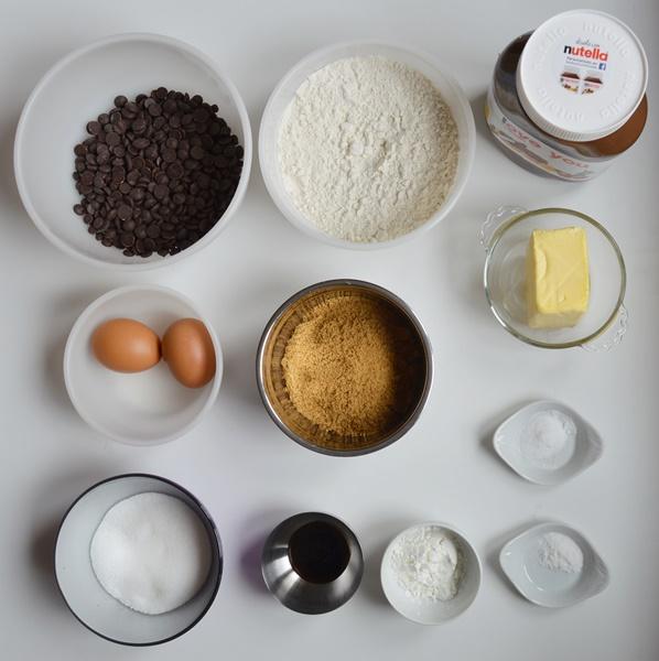Ingredientes cookies de Nutella. Aroma de chocolate