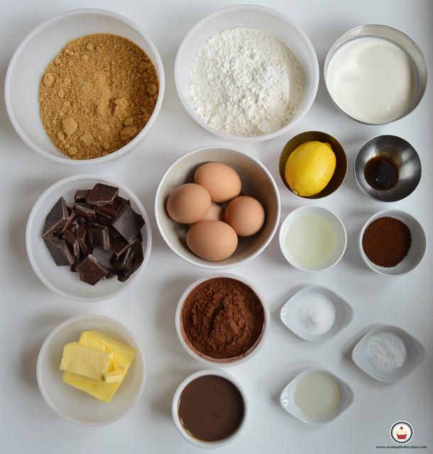 Ingredientes Bundt cake de chocolate y Baileys. Aroma de chocolate