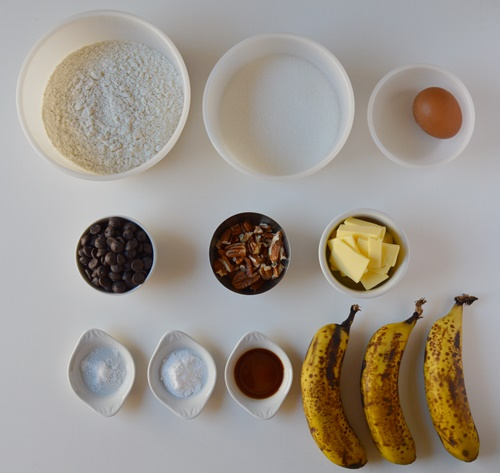 Ingredientes banana bread. Aroma de chocolate