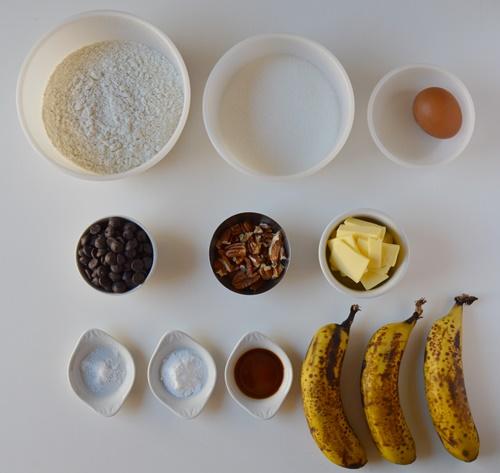 Ingredientes banana bread. Aroma de chocolate