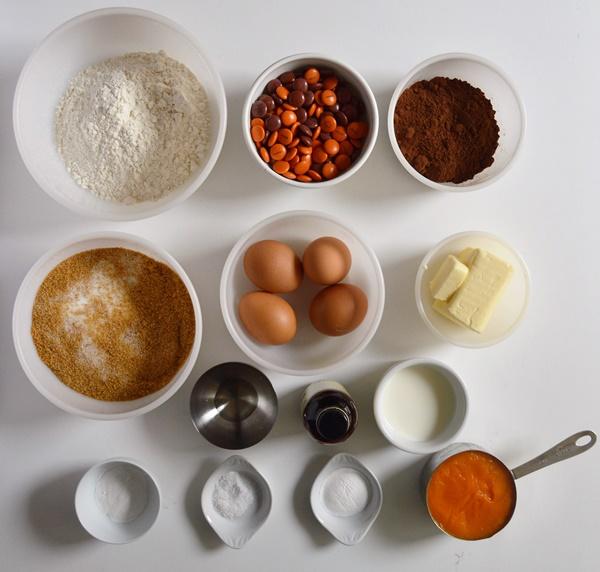 Ingredientes. Bundt cake de chocolate y calabaza. Aroma de chocolate