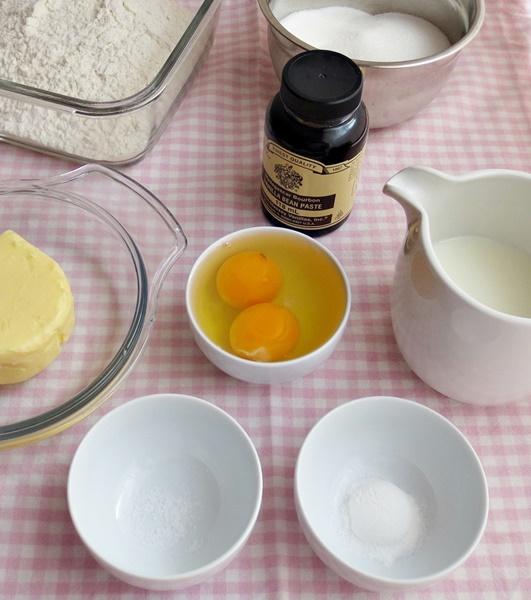 Ingredientes. Cupcakes de vainilla. Aroma de chocolate