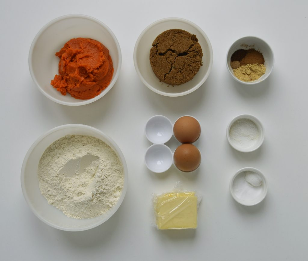 Ingredientes pumpkin bread. Aroma de chocolate